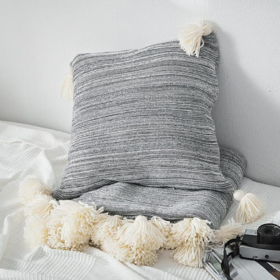Mysig Stripe Pom Pom Pillowcase Cover