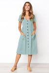 Button Front Swing Autumn Dress