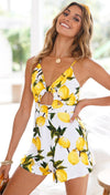 Lemon Print Cut Out Playsuit