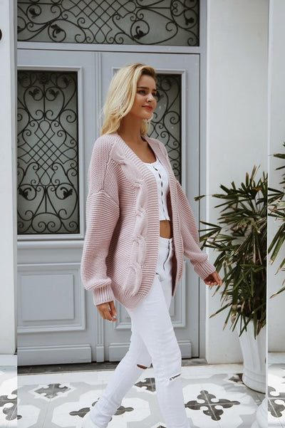Diamond Back Twist Knit Open Front Cardigan