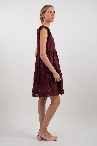 Broderie Cap Sleeve Tiered Mini Dress