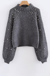 Lantern Sleeve Beaded Sweater
