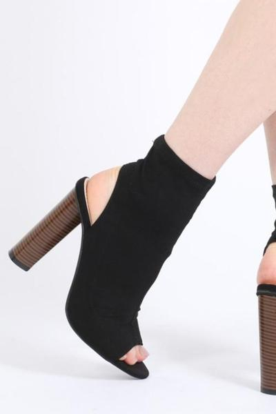 Knitted Heeled Ankle Boots