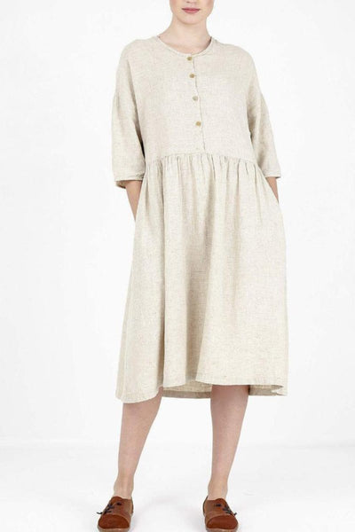 Button Detailed Linen Dress