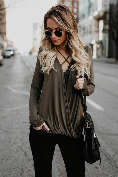 Fashionable Deep V-Neck Criss Cross Long Sleeved Solid T-Shirt