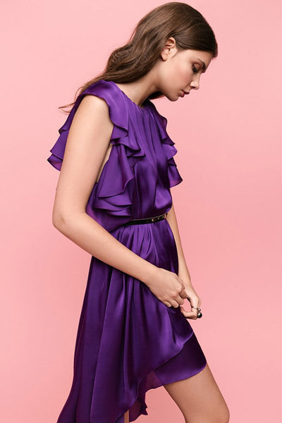 Silky Violet Waterfall Dress