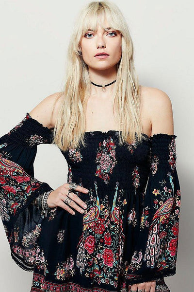 Desert Spell off Shoulder Flower Midi Dress