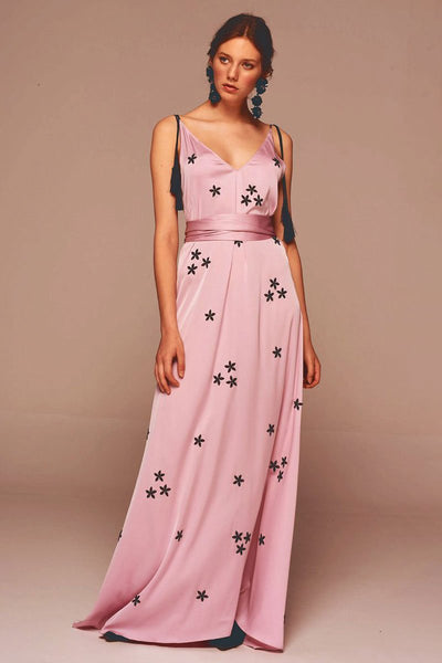 Silky Pink Embroidery Maxi Dress