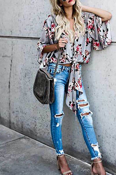 Summer Slim Floral Printed Crop Top