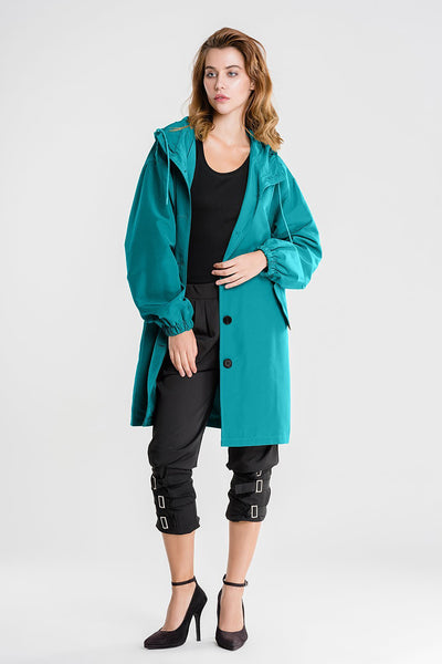 Water Resistant Oversized Hooded Windbreaker Rain Jacket
