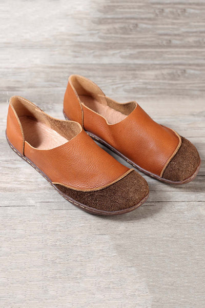Handmade Leather Round Toe Contrast Flats In Tan