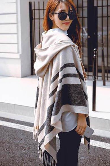 Hooded Tassel Scarf-Loosely Store