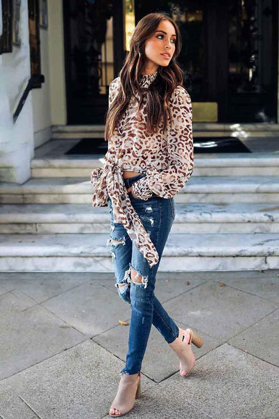Brown Leopard Print Bow Front Long Sleeve Blouse