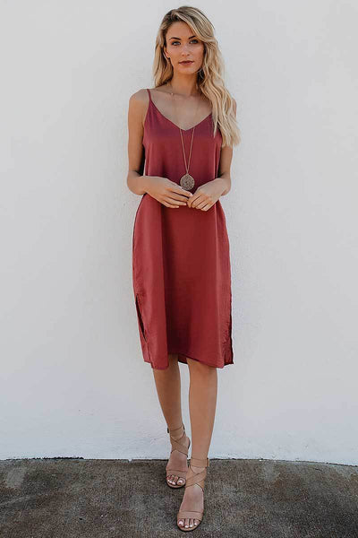 Spaghetti Strap Open Back Midi Dress