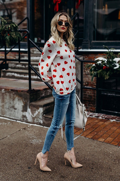 Long Sleeve Round Neck Hearts Tshirt