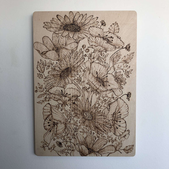 Red Berry Crafts Ltd:Pyrographed Flowers Engraved Picture