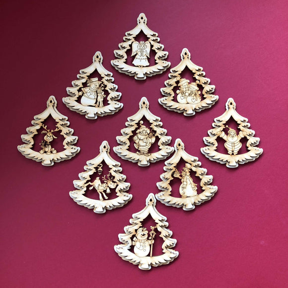 Red Berry Crafts Ltd:Small Christmas Tree Shaped Layered Tree Decoration Set