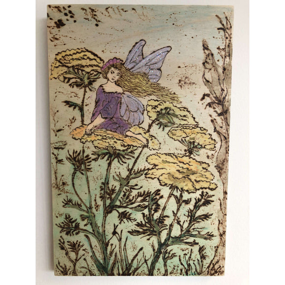 Red Berry Crafts Ltd:Pyrographed Flower Fairy Wall Hanging