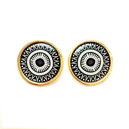 The Black & White Arabesque Circle Earrings
