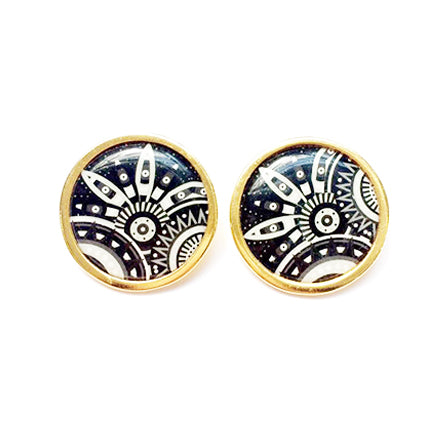 The Tropical Black & White Arabesque Circle Earrings