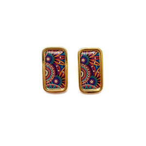The Tropical Blue Purple Arabesque Rectangle Earrings