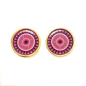 The Pink Arabesque Circle Earrings