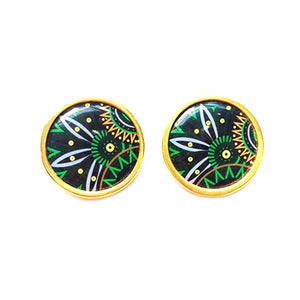 The Tropical Dark Lime Green Arabesque Circle Earrings