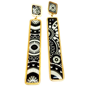 The Black & White Arabesque Long Earrings
