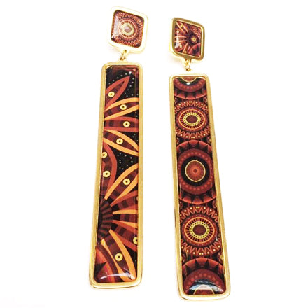 The Dark Orange Arabesque Long Earrings