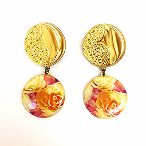 Golden Warm Roses Earrings