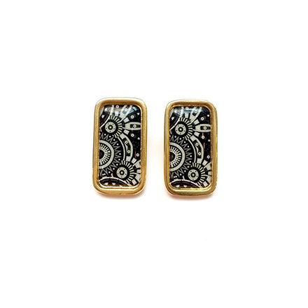 The Tropical Black & White Arabesque Rectangle Earrings
