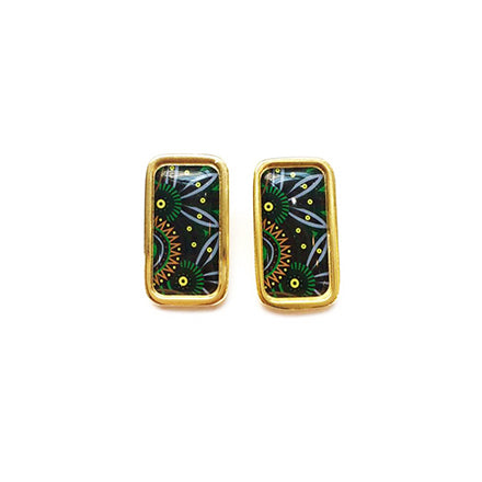 The Tropical Dark Green Lime Arabesque Rectangle Earrings
