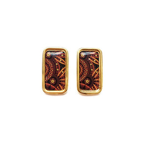 The Tropical Dark Orange Arabesque Rectangle Earrings