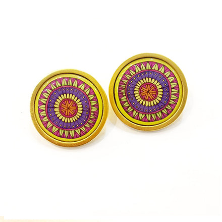 The Yellow Arabesque Circle Earrings