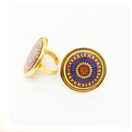 The Yellow Arabesque Circle Ring