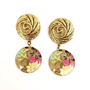 Vintage Roses In The Garden Earrings