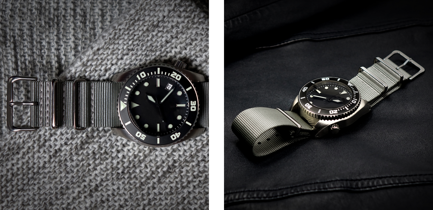 Enoksen - Blog Post - About The Deep Dive - Split Image - Deep Dive Watch On Material Background and Leather Jacket