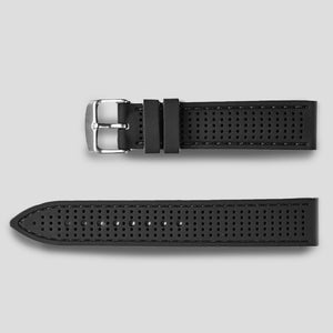 Enoksen Perforated Two Piece Rubber Strap - Black (18, 20, 22 & 24mm)