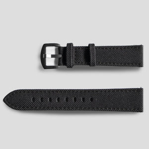 Enoksen Leather & Technical Cloth Strap - Black (20mm)