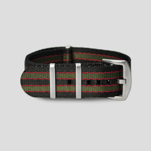 Enoksen Bond NATO Watch Strap (24mm) - Green & Red