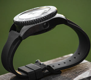 Enoksen Two Piece Rubber Strap - PVD Stealth Black (24mm)