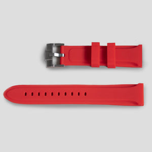 Enoksen Two Piece Rubber Watch Strap - Red (20mm & 24mm)