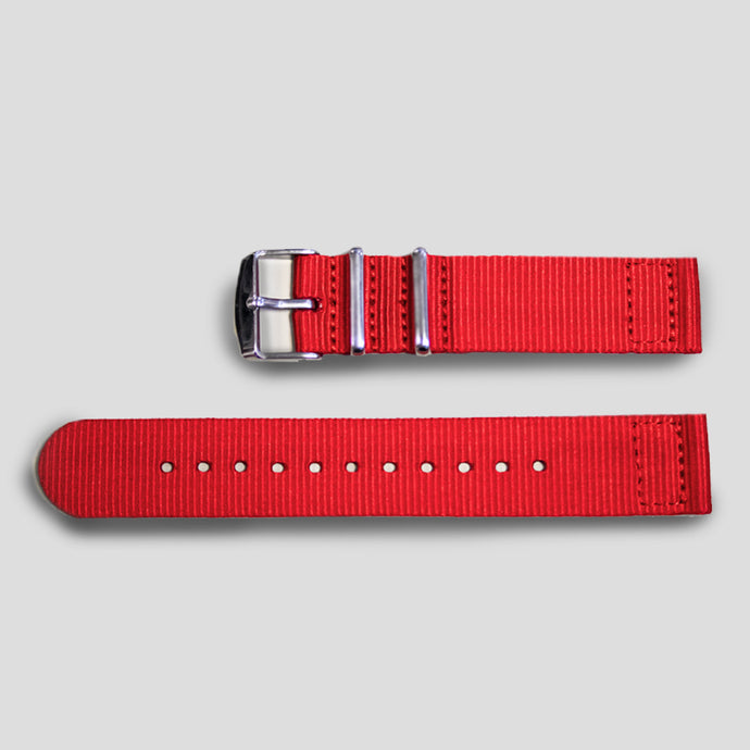 Enoksen Two-Piece NATO Nylon Strap (20mm) - Red