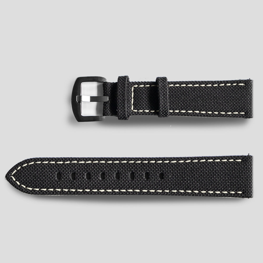 Enoksen Leather & Technical Cloth Strap - White (20mm)