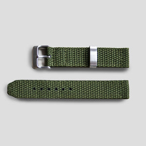 Enoksen Two-Piece Nylon Weave Strap (18mm) - Green