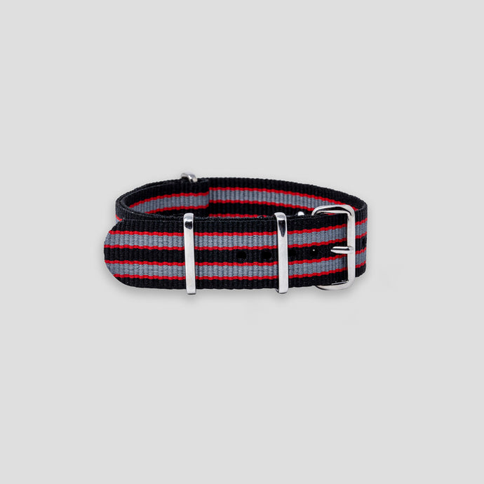 Enoksen G10 NATO Nylon Watch Strap (20mm) - Red & Black