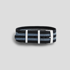 Enoksen Single Pass NATO Elastic Strap (20mm) - Bond Grey & Black