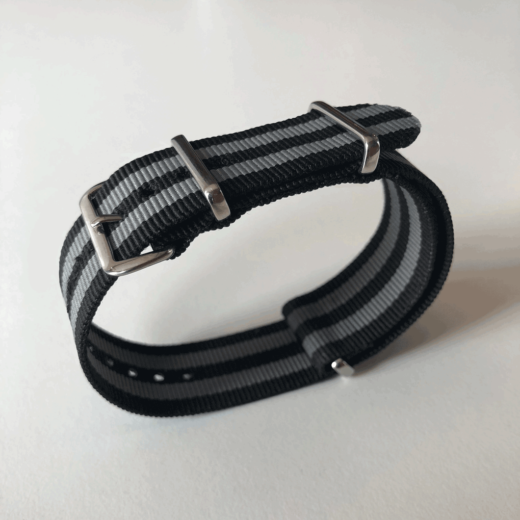 Enoksen G10 NATO Nylon Watch Strap (24mm) - Grey & Black