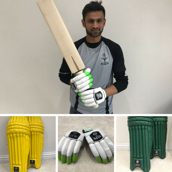 Custom pads and gloves for Shoaib Malik