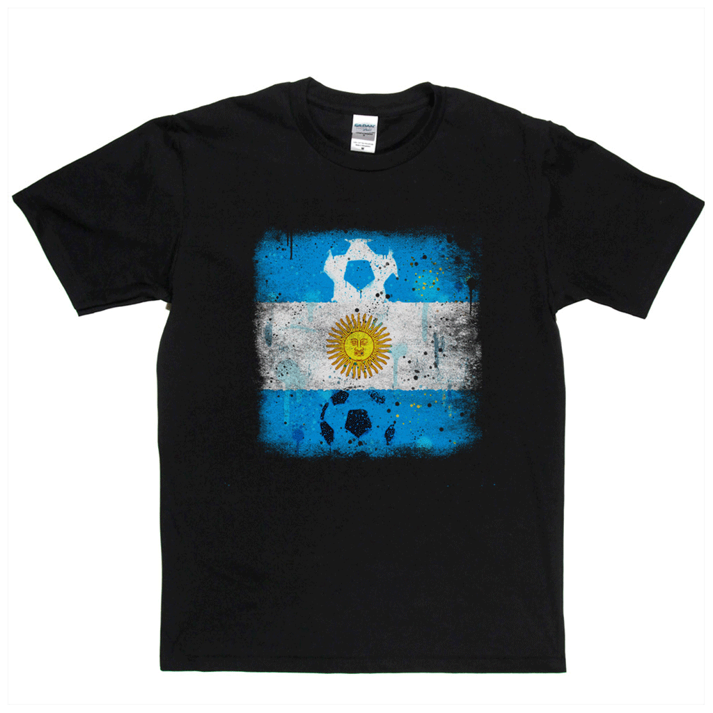 Grunge Argentina Flag Spraypaint Regular T-Shirt
